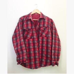 Vintage Plaid Lumberjack Quilted Shirt Jacket